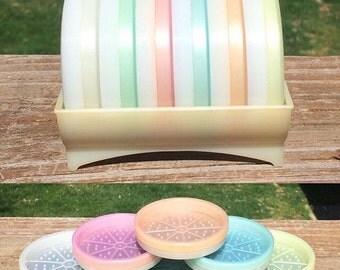 Vintage Pastel Tupperware Beverage Coasters in Caddy