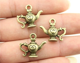 5 Teapot 3D  Charms, Antique Bronze Plated Charms (1L -35)