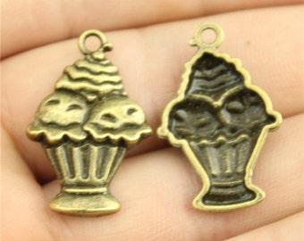 5 Ice Cream Sundae Charms, Antique Bronze Tone (1H-82)