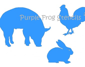 Farm Animals STENCIL Pig, Rooster Rabbit, (Reusable) Different Sizes Available