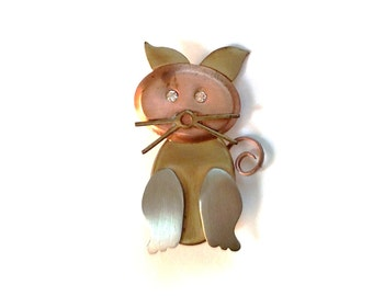 Cat Brooch Pin Mixed Metals Copper Silver Gold Tone Metal Satin Finish Tricolor Artisan Art Sparkling Rhinestone Eyes Pet Gift Vintage