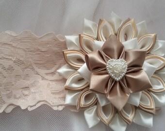 Baby Girl Headband,kanzashi headband, christening headband, baptism Headband,Lace Headband, baby bows, Accessories flower headband