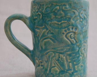 Blue Lagoon Cup - handmade coffee mug, tea mug, stoneware mug, pottery mug, ceramic mug, coffee cup, kitchen ware, handmade pottery, gift
