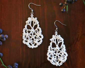 Lace Pear Crocheted Drop Earrings with Swarovski Accent