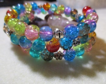 Colors of the Aura, memory wire glass bead wrap bracelet.  Fits most wrists comfortably