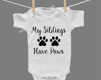 My Siblings Have Paws Gender Neutral Baby Infant Bodysuit