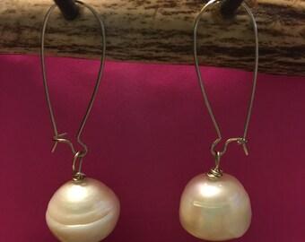 White Freshwater Pearl Earrings!