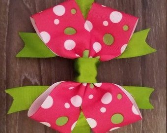 Pink and Lime Green Bow!