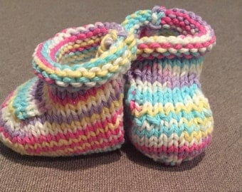 Handknit Cotton Baby Booties