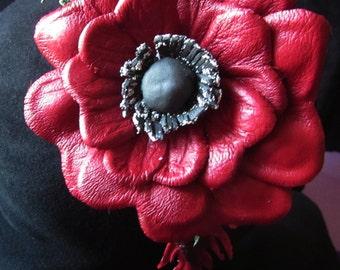 Sale. Red Poppy. Poppy headband, Hair hoop with freesias. Hair accessories Poppy hair hoop, Poppy leather, Red Poppy leather. Leather Poppy.