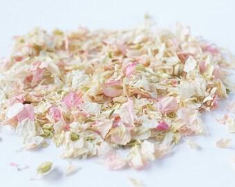 One Litre - Delphinium Wedding Confetti - Natural & Biodegradable - Pink Lemonade