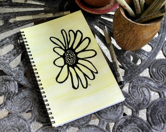 Hand Painted Spiral Journal; FREE SHIPPING; Original Art on Wire Bound Blank Notebook; Writing Sketching Diary; Daisy Outline