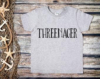 Threenager Shirt; Third Birthday Shirt; 3rd Birthday; 3rd Birthday Shirt; Three; 3; Birthday Shirt Girl;Birthday Shirt Boy;