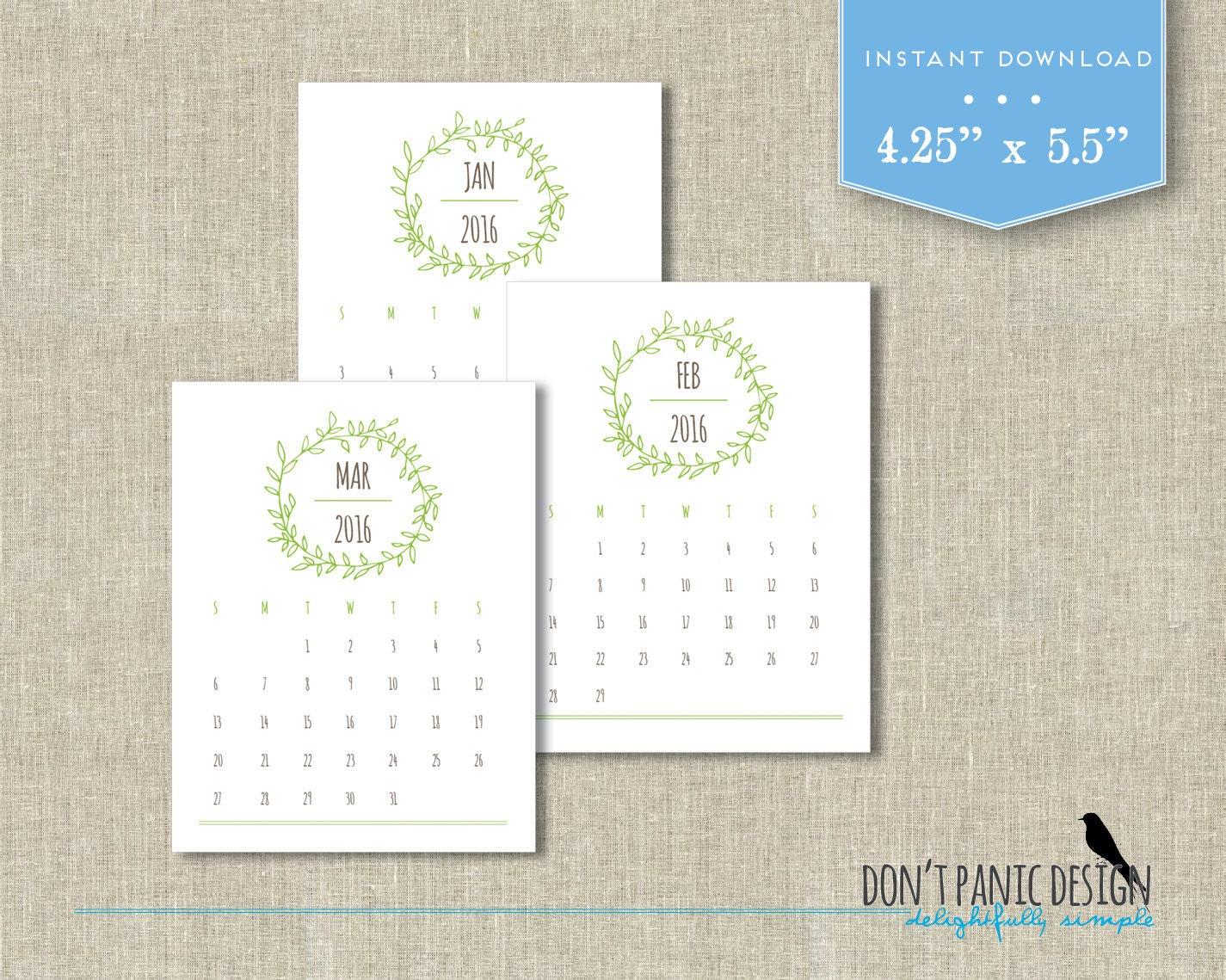 2016 2017 Printable Desk Calendar Woodland by dontpanicOrganize