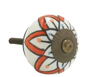 Orange Floral Pattern Decorative Ceramic Dresser Drawer, Cabinet or Door Pull Knob - i70
