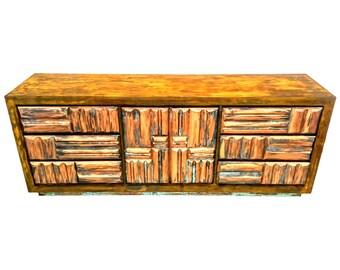 Vintage Mid Century Modern Brutalist Dresser or Credenza by Lane