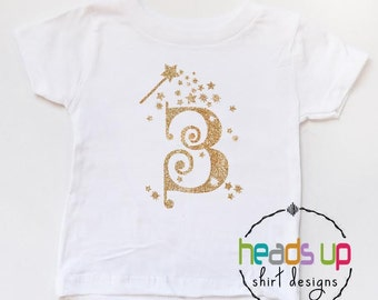 Third Birthday Shirt Princess - 3 Birthday Tee Fairy Glitter Toddler Girl - Three Princess Wand tshirt - Wand - 3rd Birthday - Trendy - Gift