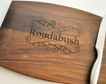 Personalized Cutting Board, Custom Cutting Board, Personalized Wedding Gift, Housewarming Gift, Anniversary Gift, Monogram, Engraved Walnut