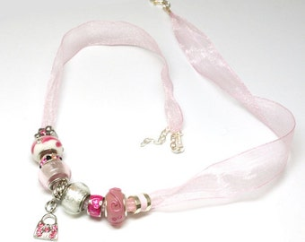 Toc Beadz Pink Crystal Delicate Organza Bead  (PB72)
