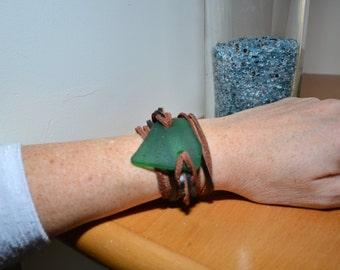 Deep aqua sea glass leather wrap bracelet - Israel