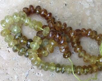 1/2 Strand Faceted Grossular Green Garnet Natural Gemstone Rondelles