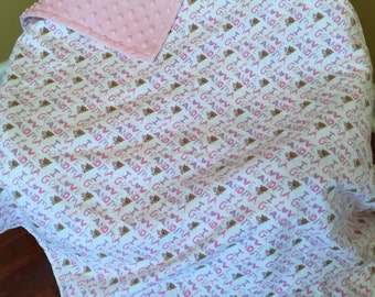I Love Grandma Snuggle Flannel Blanket in Pink & Purple