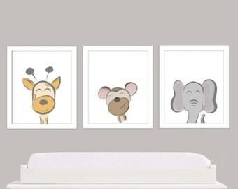 Cute Animal Nursery Theme, 8x10 Trio Art work
