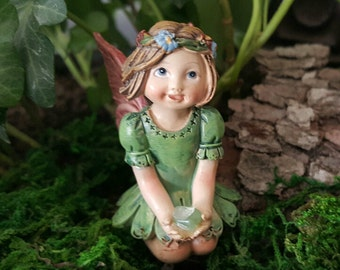 Miniature Fairy Little Girl in Green