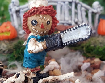 Miniature Scary Rag Doll with a Chainsaw
