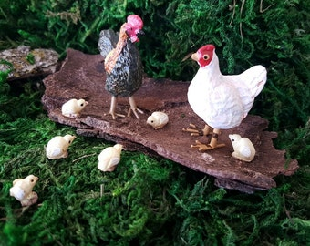 Miniature Rooster, Hen, and Chicks! Set of 8
