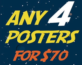 Any 4 Posters - 15% Off Promo Deal - Only for 11x14, 11x17 inch and A3 posters.