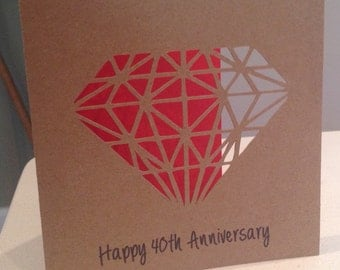 Ruby wedding 40th anniversary card - papercut