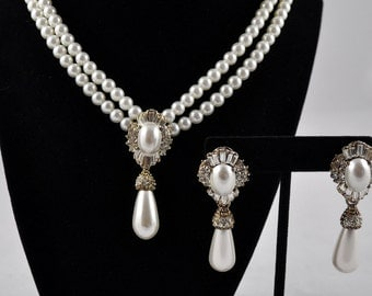 Reduced! Bridal pearl choker and earring set