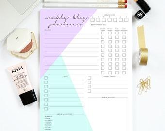 Weekly Blog Planner - Portrait - Instant Download - Printable A4 Desk Templates