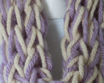 Purple/ White Infinity Scarf