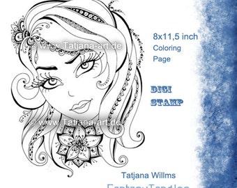 Beauty - Doodle/Zentangle Ausmalbild Digi Stamp