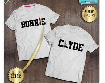 Pair of BONNIE and CLYDE t-shirt