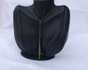 Gold Filled Necklace with Emerrald Stones