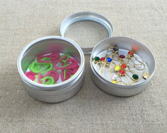 """Display Containers Set of 2 Cans Aluminum Storage Container 2"""" Canister Small Storage Solution Clear Top Can for Stitch Markers Needle Stops"""