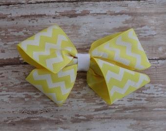 Yellow and white chevron Baby Toddler Hair Bow