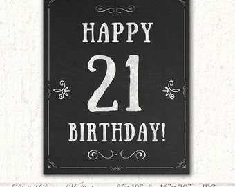 Chalkboard Birthday Poster,Printable Birthday Sign,21th Birthday Party Decorations,21 Birthday Decorations,Birthday Sign,Birthday Ideas