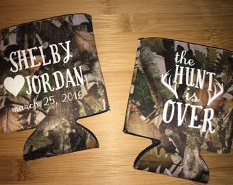 The hunt is over, I do, big day, Wedding Custom Can Coolers