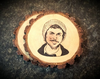 Michael Cera Handcrafted Natural Wood Coasters Set of 2