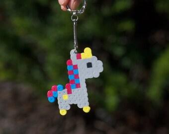 Colorful Unicorn Perler beads keychain - Gray