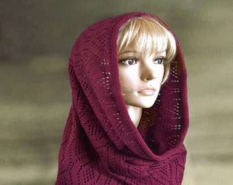 Knit hooded scarf,  Cowl scarf, Circle scarf, Cowl hood, Cowl snood, Wool scoodie, Knit hoodie, Knit cowl scarf, Womens snood scarf