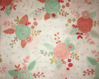 Coral Teal Mint Gold Floral Rose Apparel Quilting 100% Cotton Fabric 1 Yard
