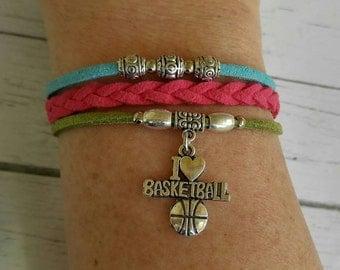 Girl's Sports Bracelet// Basketball Charm Bracelet// Multi Strand Friendship Bracelet// Basketball Gift// Choose ONE Charm