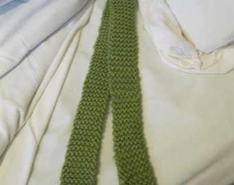 Olive green knitted scarf