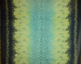 Blue and Green Flower Window Curtains