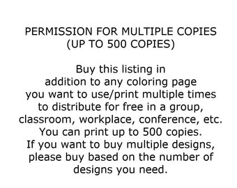 PERMISSION for multiple copies for ChristineDigitalPics coloring pages
